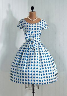 Cute little blue polka dot 50's dress