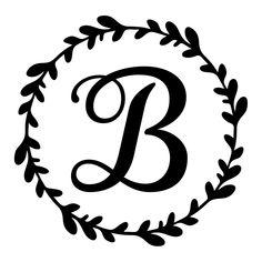 Monogram initial vine wreath vinyl decal – RKCreative LLC