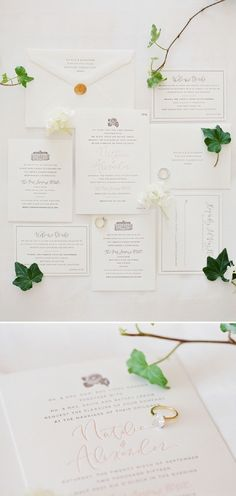 Gorgeous shots by photographer, Greg Finck, of letterpress invitations we printed for a romantic wedding in southern California