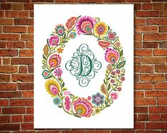 Personalized Gift Polish Folk Art Wycinanki Flower Papercut Style Oval Floral Print Choice of Initial and Color Decorative Monogram Gift Monogram Gifts, Personalized Gifts, Polish Folk Art, Floral Prints, Art Prints, Art Floral, Paper Cutting, How To Draw Hands, Tapestry
