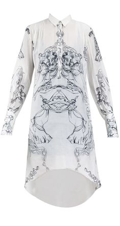 Printed cotton dress by GAURAV GUPTA. Shop at https://www.perniaspopupshop.com/whats-new/gaurav-gupta-5010