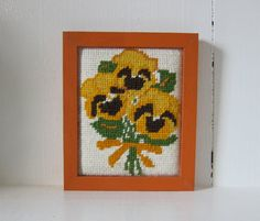 Vintage Flower Needlepoint Wall Piece Pansies by SmythandMelville, $8.75