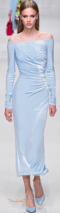 Versace Spring 2018 RTW #MFW #ss18 baby blue velvet dress