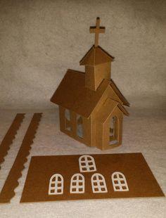 Cartulina iglesia montado pintura y por littlevillagehouses