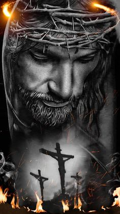 Download Jesus crucified wallpaper by georgekev - ad - Free on ZEDGE™ now. Browse millions of popular b and w Wallpapers and Ringtones on Zedge and personalize your phone to suit you. Browse our content now and free your phone Cross Pictures, Bible Pictures, Print Pictures, Jesus Tattoo Design, Angel Tattoo Designs, Jesus And Mary Pictures, Christ Tattoo, Jesus Tattoo On Arm, Archangel Tattoo