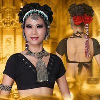 2017 ATS Tribale Danza Del Ventre Vestiti Top Crop Choli Top Con Scollo A V Backless Plus Size Donne Gypsy Tribal Danza