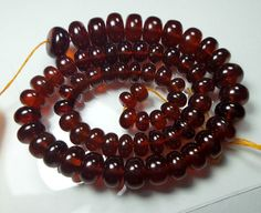 123.9 Crt Natural Hessonite Garnet 5.0-6.5 MM Smooth Rondelle Beads 14  Strand