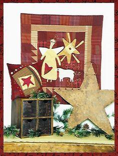 FOLK ART Christmas Wall Hanging and Pillow by KeepsakesStudio