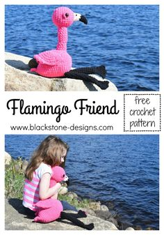 Flamingo Friend free crochet pattern from Blackstone Designs This stuffed animal is soft, squishy, and so so cute!  #flamingo #stuffedanimal #crochet #crochetpattern