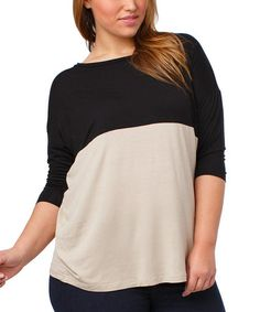 Another great find on #zulily! Black & Taupe Rhett Color Block Dolman Top - Plus by Thread & Butter #zulilyfinds