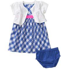 Child of Mine by Carters Newborn Girls' 3 Piece Check Print Dress, Shrug and Bloomer Set