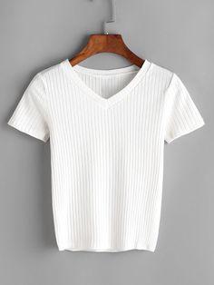 Camiseta escote V de canalé-blanquecino