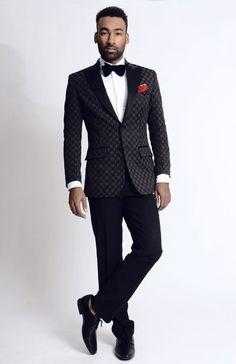 High Fashion Black Men's Printed Blazer