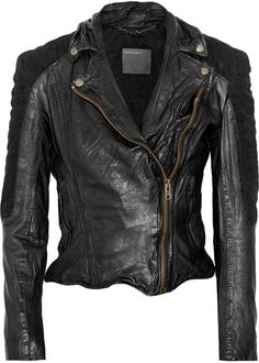 $650, Muubaa Xera Quilted Suede And Leather Biker Jacket by Muu Baa. Sold by The Outnet. Click for more info: http://lookastic.com/women/shop_items/35340/redirect