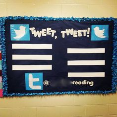 Twitter classroom bulletin board with one line for each period each day.  Thinking about making this for my class schedule! Now where to find the twitter birds. Any ideas?