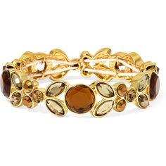 Liz Claiborne Gray Stone Gold-Tone Stretch Bracelet ($28) ❤ liked on Polyvore featuring jewelry, bracelets, gold tone jewelry, stretch bracelet, gray jewelry, goldtone jewelry and bracelet jewelry