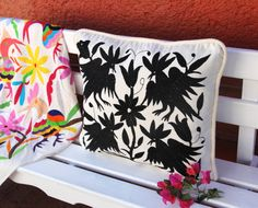 Black Otomi Sham by CasaOtomi on Etsy Mexican tenango purse tote Mexican Suzani Otomi Textile hand embroidered Mexico cushion pillow