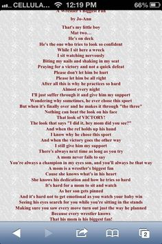 This is one of my favorite Wrestling Mom Quote! Because this poem is how a wrestling mom feels when son or daughter is wrestling! ❤