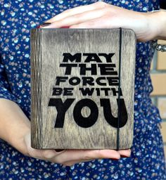 Notebook Custom Engraved Print Star Wars Gift May the force be with you Wooden Journal Blank Sketchbook Gift for Girlfriend Boyfriend Sister by EnjoyTheWood on Etsy Engraving Printing, Custom Engraving, Diary Covers, Blank Journal, Diy Notebook, Blank Book, Star Wars Gifts, Gifts For Teens, Stars