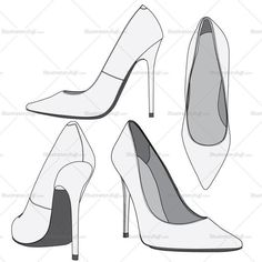 Women's high heel fashion flat vector templates in four different views so its easy to show the styling details and modified in any style changes.