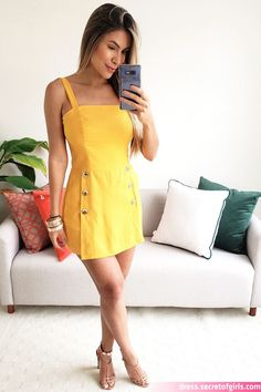 Summer Work Dresses, Casual Dresses For Teens, Simple Dresses, Chic Outfits, Dress Outfits, Fashion Dresses, Womens Trendy Tops, Girl Fashion, Fashion Looks
