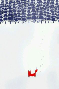 Alone in the forest Art Print by Robert Farkas. i like the footprints and the trees look like The Moomins illustrations Art And Illustration, Fuchs Illustration, Forest Poster, Forest Art, Snowy Forest, Art Mural, Surface Design, Mail Art, Artsy Fartsy