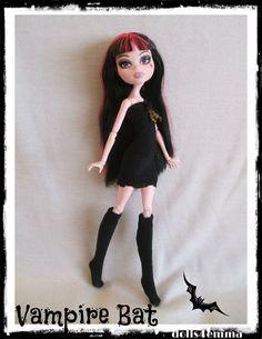 Handmade HALLOWEEN Vampire Bat Dress & Socks for Monster High Dolls - by DOLLS4EMMA, $14.00