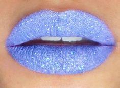 Sparkly light blue lipstick