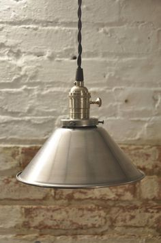 Unfinished Steel Cone Shade Industrial Pendant Light by wiresNjars