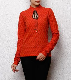 Orange South Cotton Top with Bird Prints