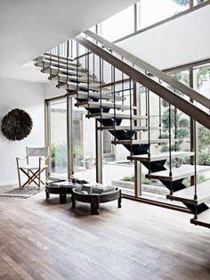 05.15 01 3 Beautiful Rustic Industrial Floating Stairs | Kerry Angelos - Interior Ideas
