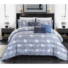 Shop for Chic Home Antoinette Blue Jacquard 10-piece Bed-in-a-Bag Set and more for everyday discount prices at Overstock.com - Your Online Fashion Bedding Store!