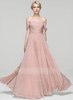 A-Line/Princess Off-the-Shoulder Floor-Length Chiffon Prom Dresses With Ruffle Lace Beading - Prom Dresses - JJ's House Elegant Bridesmaid Dresses, Backless Prom Dresses, Wedding Party Dresses, Formal Dresses, Vestidos Fashion, Fashion Dresses, Chiffon Evening Dresses, Evening Gowns, Boho Gown