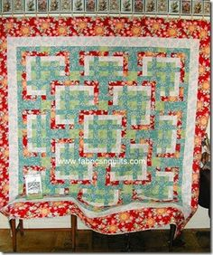 Fabrics N Quilts - Tie The Knot one-block quilt with link to pattern.