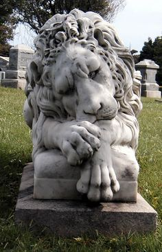 Distraught lion..Cypress Lawn Cemetery in Colma, California