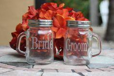 Mason Jar Bride and Groom Glasses Etched Mason Jars, Mini Mason Jars, Mason Jar Crafts, Rustic Wedding, Our Wedding, Dream Wedding, Wedding Ideas, Wedding Stuff, Wedding Tables