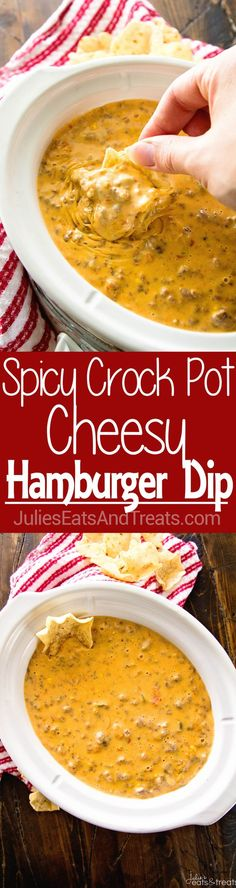 Spicy Crock Pot Cheesy Hamburger Dip ~ The BEST Cheese Dip Made in Your Slow Cooker! Perfect for a Party, Game Day or Just Because! This Appetizer Will Have You Coming Back for More! via /julieseats/