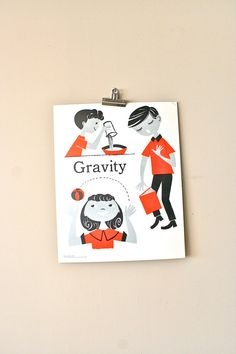 vintage school poster gravity by LegalMissSunshine on Etsy, $32.00