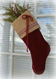 shabby chic red velvet christmas stocking burlap cuff red bow - Red Velvet Christmas Stockings
