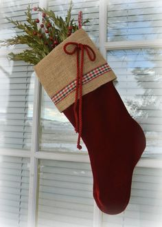 Shabby Chic Red Velvet Christmas Stocking Burlap Cuff Red Bow