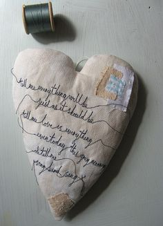 heart of my heart.....by cathy cullis  I love this so much... the words, the stitching.