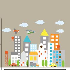 Kids Vinyl Wall Sticker Decal Art city buildings by wallartdesign, $125.00