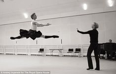 Royal Ballet Soloist Dawid Trzensimiech performs a grand jeté rehearsing for 2012's La Sylphide