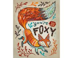 Illustration Art Print Fox is Foxy  by annibetts