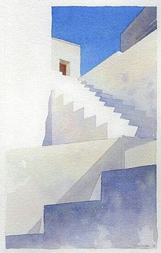Architecture minimalist watercolor, stairs and white exterior illustration painting with blue sky. Watercolor Drawing, Watercolor Landscape, Painting & Drawing, Watercolor Paintings, Watercolors, Watercolor Tips, Watercolor Techniques, Art Techniques, Art Aquarelle