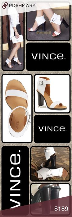 """🆕Vince """"Nicole"""" Leather Ankle-Cuff Sandal FAB-U-LOUS!! These are edgy, a little chunky, but super chic & comfy. Clean lines & bright white, this ankle cuff sandal is a breath of fresh air. Sleek 2-pc construction, on-trend chunky heel & asymmetrical buckle strap make it so contemporary, while a padded insole adds comfort to the style. Dust bag included to keep your investment safe! Offers welcome!  👠Dust bag 👠4 1/2 inch heel.  👠3 1/2 inch ankle strap height 👠Ankle strap - buckle closure…"""