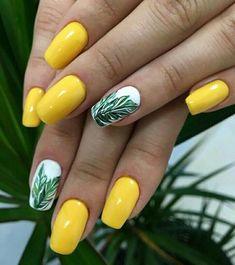 23 Great Yellow Nail Art Designs 2019 1 - The most beautiful nail designs Bright Summer Nails, Summer Acrylic Nails, Cute Acrylic Nails, Cute Nails, Summer Nail Polish, Yellow Nails Design, Yellow Nail Art, Neon Yellow, Hawaii Nails