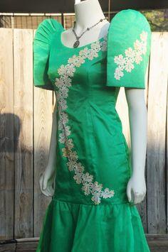Filipiniana Vintage Terno Mestiza Green Filipino Philippine Costume Dress Small