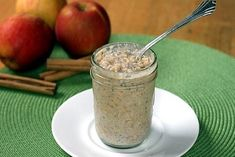 Apple Cinnamon Refrigerator Oatmeal (Made this one for breakfast I'll let ya know what i think in the morning) Very yummy will be making this again. Refrigerator Oatmeal, Great Recipes, Favorite Recipes, Cooking Oatmeal, Healthy Snacks, Healthy Recipes, Good Food, Yummy Food, Unsweetened Applesauce