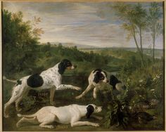 """Ponne, Bonne & Nonne"" - hunting dogs belonging to Louis XIV - by François-Alexandre Desportes, French painter specializing in animals, 1661-1743"